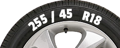 Tyre with sizes